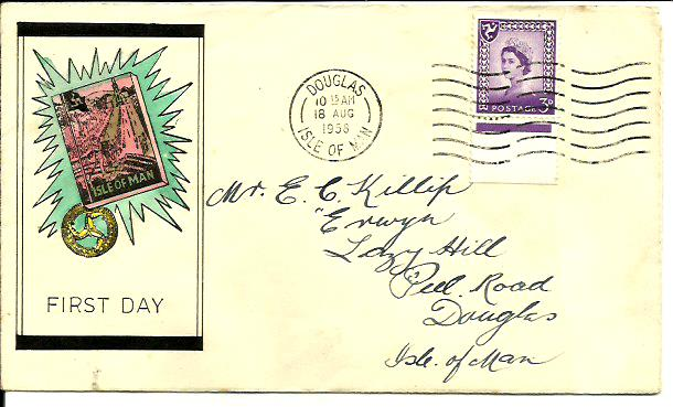 18 Aug 58 3d regional on hand painted cover used Douglas machine ...